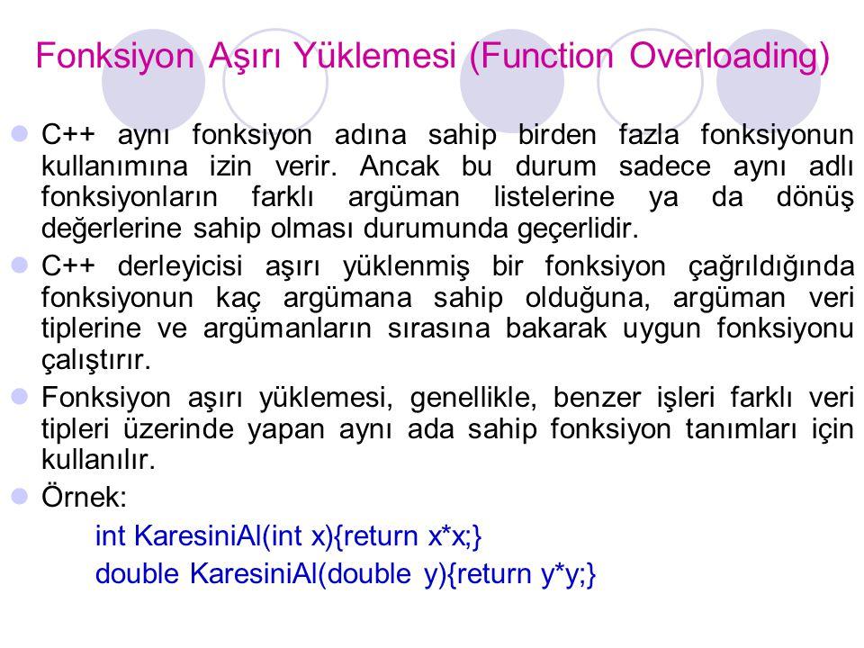 Fonksiyon Aşırı Yüklemesi (Function Overloading)  C++ aynı fonksiyon adına sahip birden fazla fonksiyonun kullanımına izin verir. Ancak bu durum sade