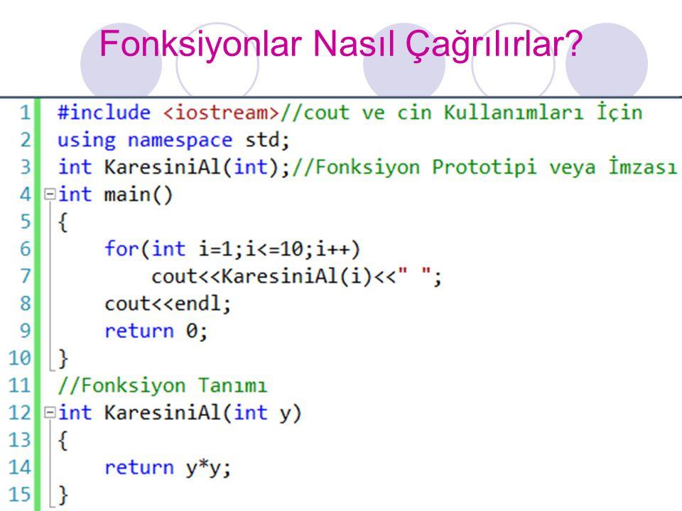 Fonksiyon Formatı döndürülen veri tipi FonksiyonunAdı (parametre listesi) { deklarasyonlar ve deyimler; return anahtar kelimesi; }  Parametre listesindeki birden fazla parametre birbirlerinden virgül ile ayrılır.
