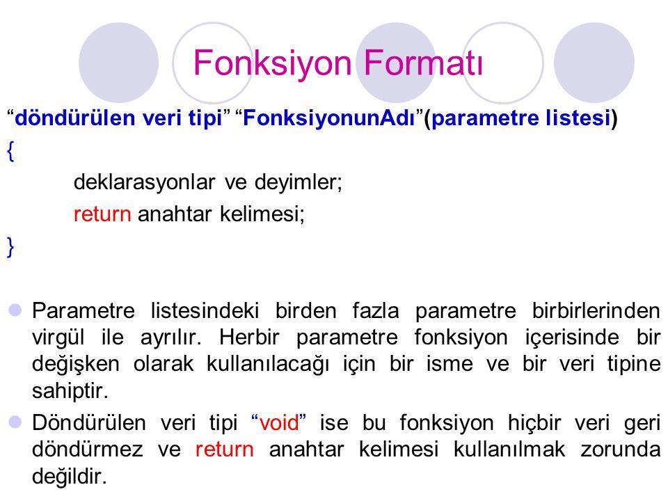 """Fonksiyon Formatı """"döndürülen veri tipi"""" """"FonksiyonunAdı""""(parametre listesi) { deklarasyonlar ve deyimler; return anahtar kelimesi; }  Parametre list"""