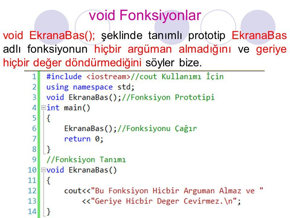 void Fonksiyonlar void EkranaBas(); şeklinde tanımlı prototip EkranaBas adlı fonksiyonun hiçbir argüman almadığını ve geriye hiçbir değer döndürmediği