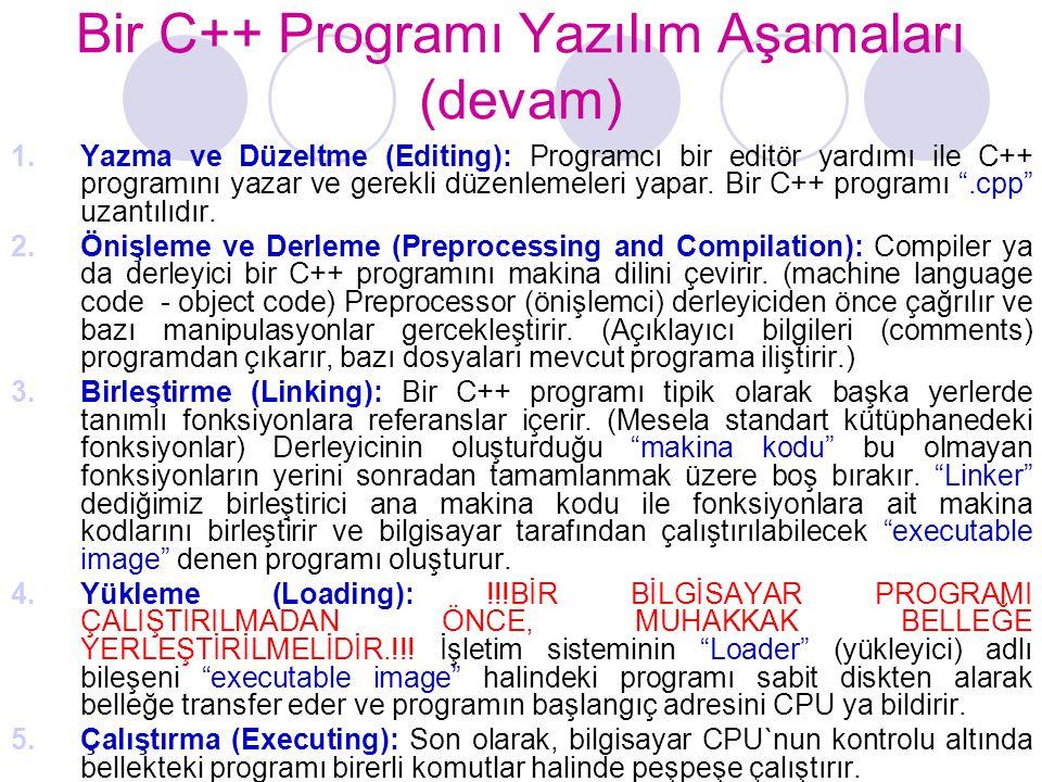 Bir C++ Programı Yazılım Aşamaları (devam) 1.Yazma ve Düzeltme (Editing): Programcı bir editör yardımı ile C++ programını yazar ve gerekli düzenlemele