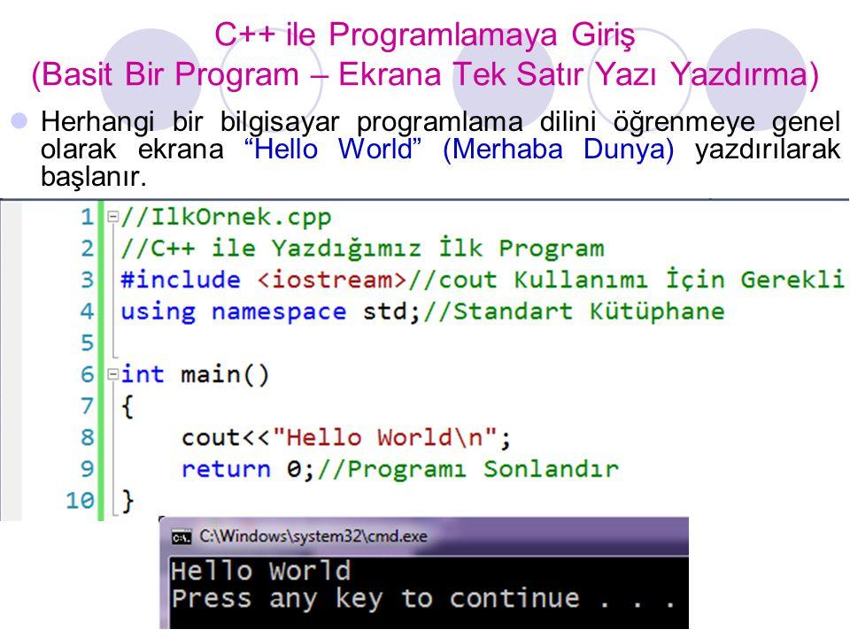 C++ ile Programlamaya Giriş (Basit Bir Program – Ekrana Tek Satır Yazı Yazdırma)  Herhangi bir bilgisayar programlama dilini öğrenmeye genel olarak ekrana Hello World (Merhaba Dunya) yazdırılarak başlanır.