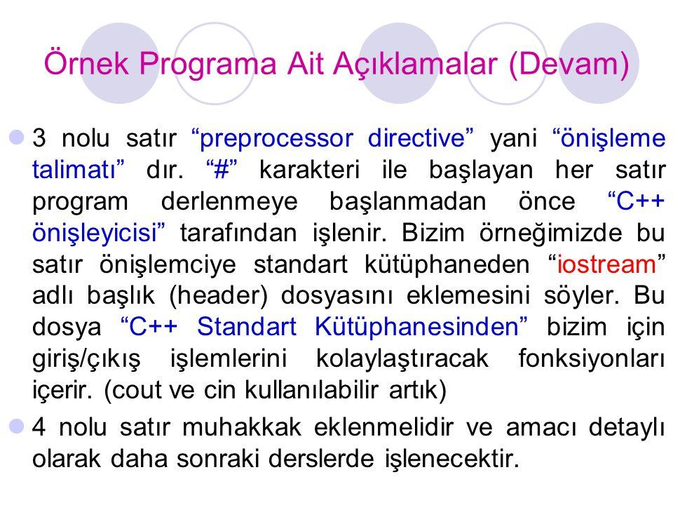 Örnek Programa Ait Açıklamalar (Devam)  3 nolu satır preprocessor directive yani önişleme talimatı dır.