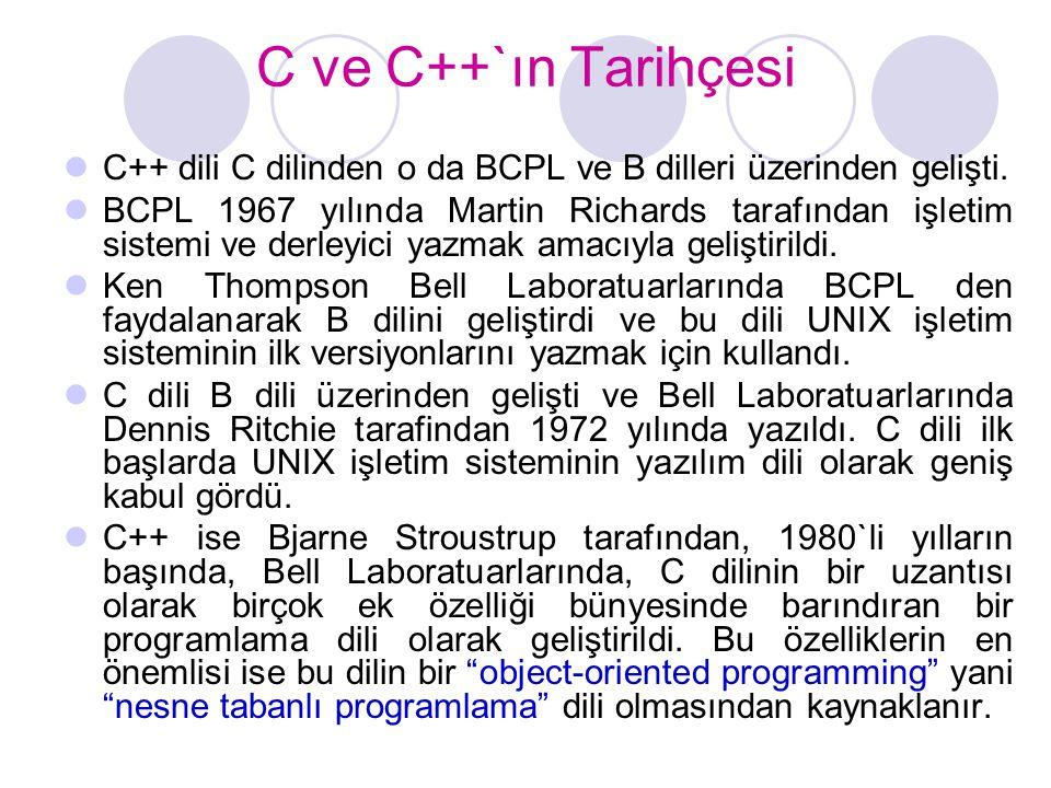 C ve C++`ın Tarihçesi  C++ dili C dilinden o da BCPL ve B dilleri üzerinden gelişti.  BCPL 1967 yılında Martin Richards tarafından işletim sistemi v