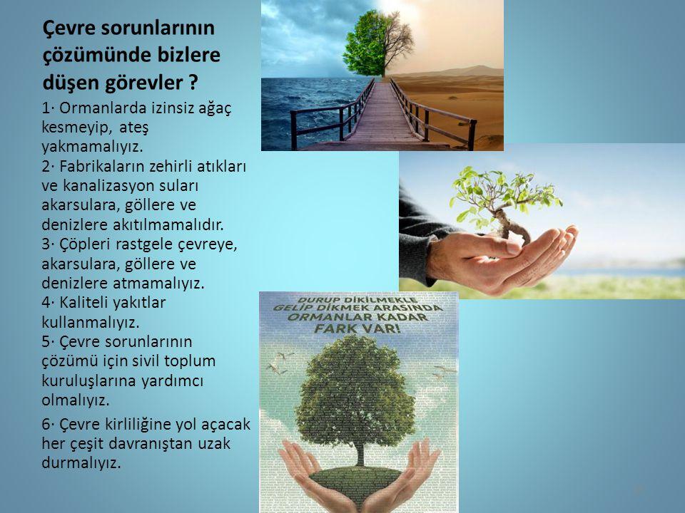 Çevre sorunlarının çözümünde bizlere düşen görevler ? 1· Ormanlarda izinsiz ağaç kesmeyip, ateş yakmamalıyız. 2· Fabrikaların zehirli atıkları ve kana