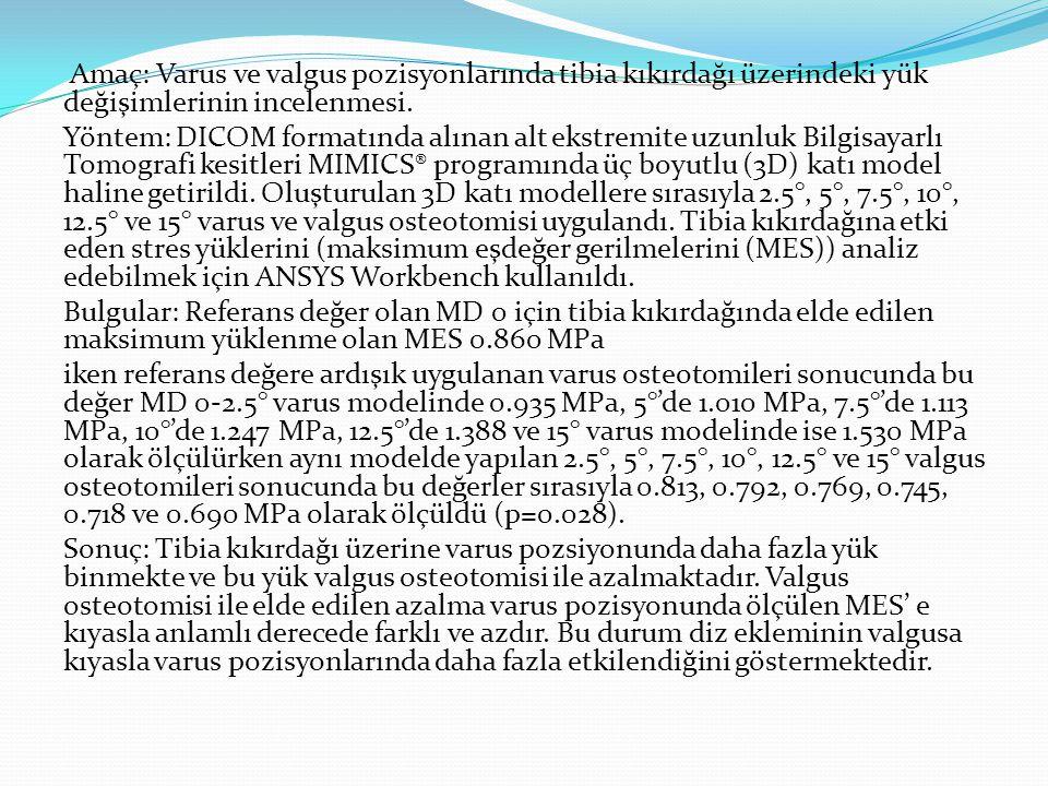 Amaç: Varus ve valgus pozisyonlarında tibia kıkırdağı üzerindeki yük değişimlerinin incelenmesi. Yöntem: DICOM formatında alınan alt ekstremite uzunlu
