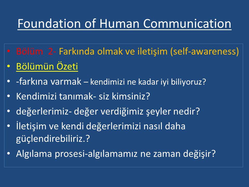 Foundation of Human Communication • Bölüm 2- Farkında olmak ve iletişim (self-awareness) • Bölümün Özeti • -farkına varmak – kendimizi ne kadar iyi biliyoruz.