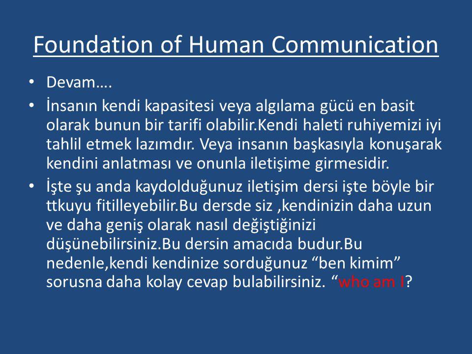 Foundation of Human Communication • Devam…. • İnsanın kendi kapasitesi veya algılama gücü en basit olarak bunun bir tarifi olabilir.Kendi haleti ruhiy