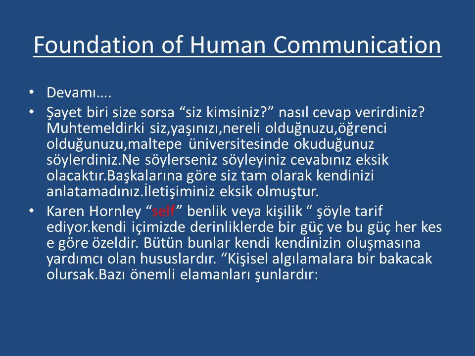 """Foundation of Human Communication • Devamı…. • Şayet biri size sorsa """"siz kimsiniz?"""" nasıl cevap verirdiniz? Muhtemeldirki siz,yaşınızı,nereli olduğnu"""
