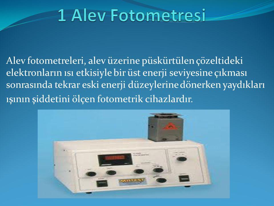 Alev fotometreleri; alev kaynağı, atomizer, monokromatör, giriş-çıkış slitleri, detektör ve göstergeden oluşmaktadır.