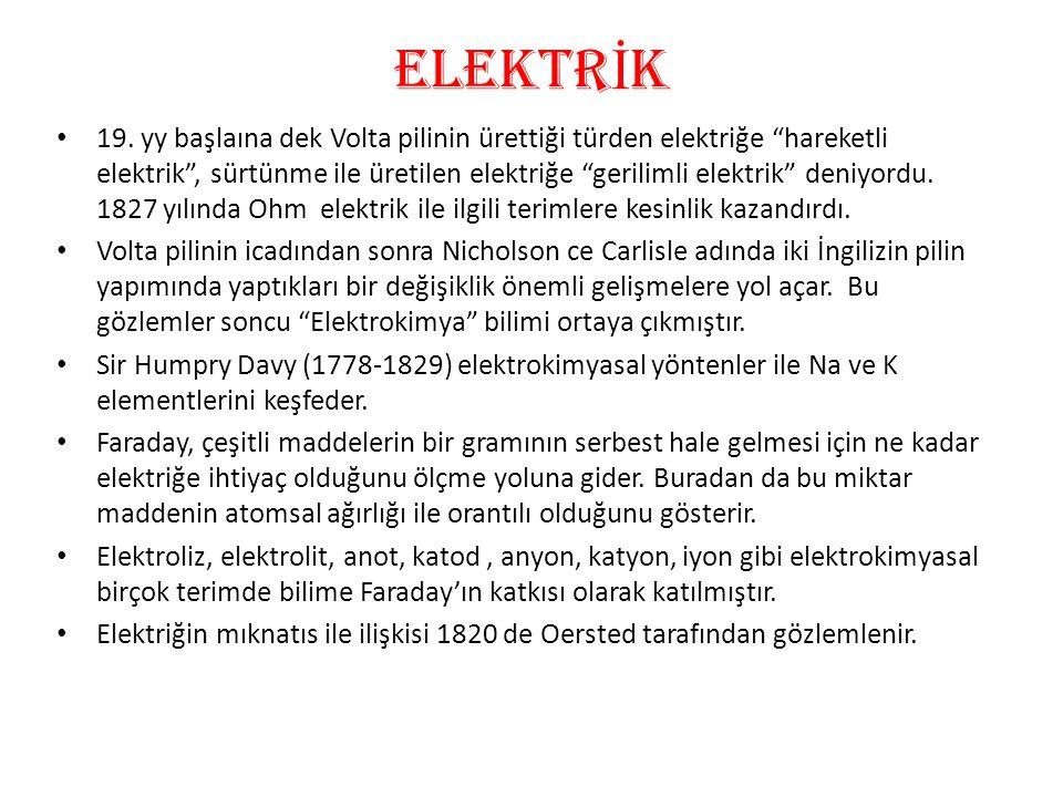 """eLEKTR İ K • 19. yy başlaına dek Volta pilinin ürettiği türden elektriğe """"hareketli elektrik"""", sürtünme ile üretilen elektriğe """"gerilimli elektrik"""" de"""