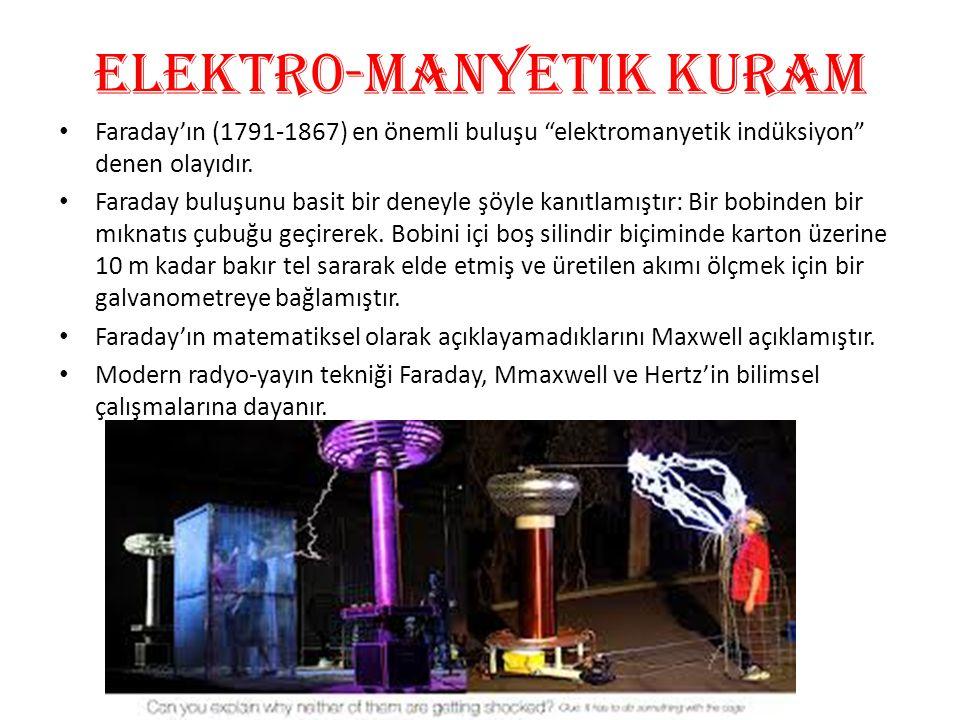 """eLEKTR0-manyetik kuram • Faraday'ın (1791-1867) en önemli buluşu """"elektromanyetik indüksiyon"""" denen olayıdır. • Faraday buluşunu basit bir deneyle şöy"""