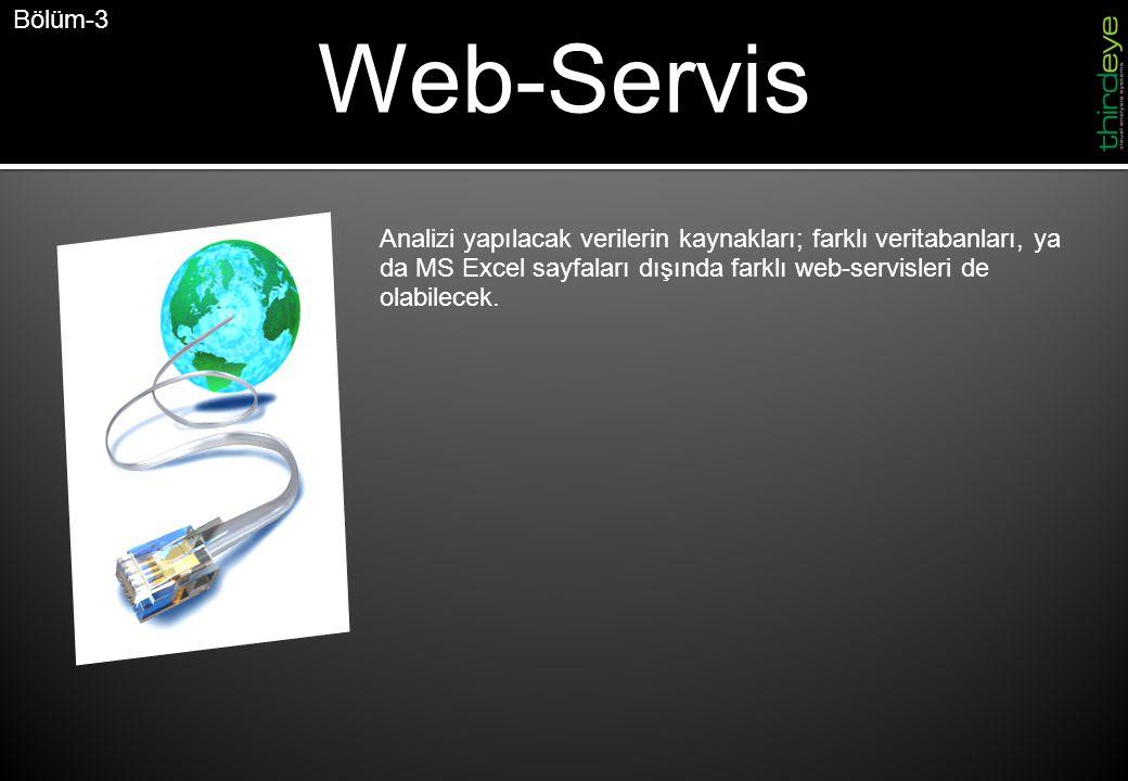 Web-Servis Bölüm-3 Analizi yapılacak verilerin kaynakları; farklı veritabanları, ya da MS Excel sayfaları dışında farklı web-servisleri de olabilecek.