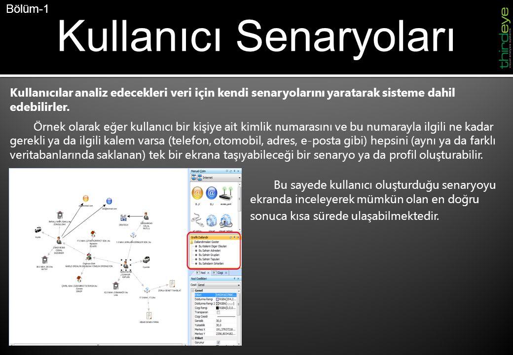 Kullanıcı Senaryoları Kullanıcılar analiz edecekleri veri için kendi senaryolarını yaratarak sisteme dahil edebilirler.
