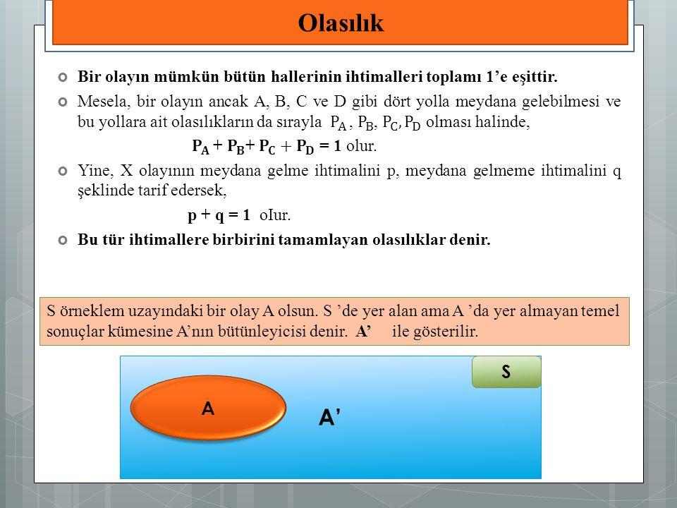 S örneklem uzayındaki bir olay A olsun. S 'de yer alan ama A 'da yer almayan temel sonuçlar kümesine A'nın bütünleyicisi denir. A' ile gösterilir. A'