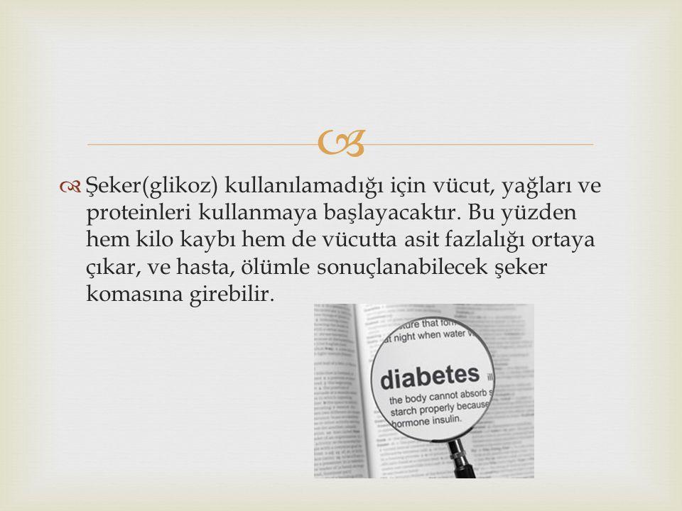   Şeker(glikoz) kullanılamadığı için vücut, yağları ve proteinleri kullanmaya başlayacaktır. Bu yüzden hem kilo kaybı hem de vücutta asit fazlalığı