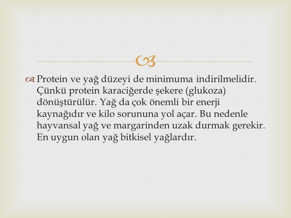   Protein ve yağ düzeyi de minimuma indirilmelidir. Çünkü protein karaciğerde şekere (glukoza) dönüştürülür. Yağ da çok önemli bir enerji kaynağıdır
