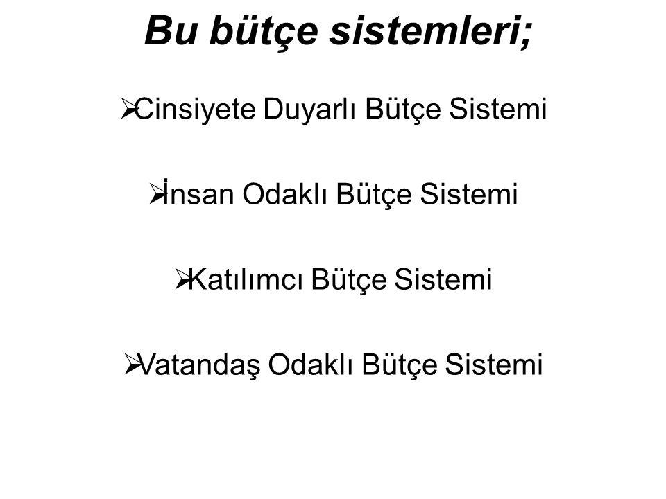 Bu bütçe sistemleri;  Cinsiyete Duyarlı Bütçe Sistemi  İnsan Odaklı Bütçe Sistemi  Katılımcı Bütçe Sistemi  Vatandaş Odaklı Bütçe Sistemi