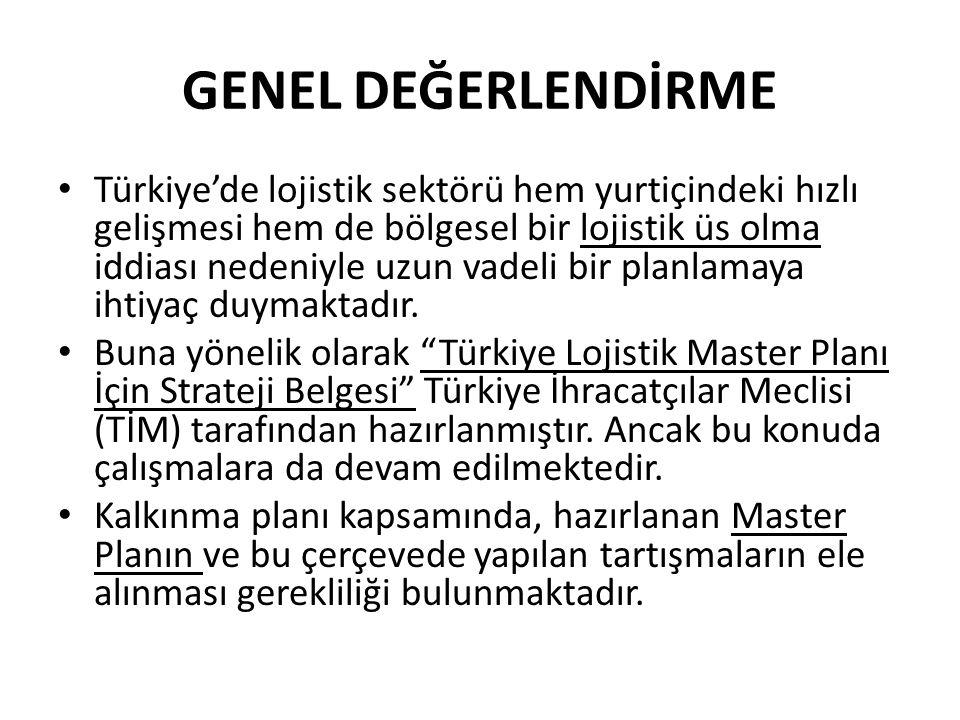 GENEL DEĞERLENDİRME • Türkiye'de lojistik sektörü hem yurtiçindeki hızlı gelişmesi hem de bölgesel bir lojistik üs olma iddiası nedeniyle uzun vadeli