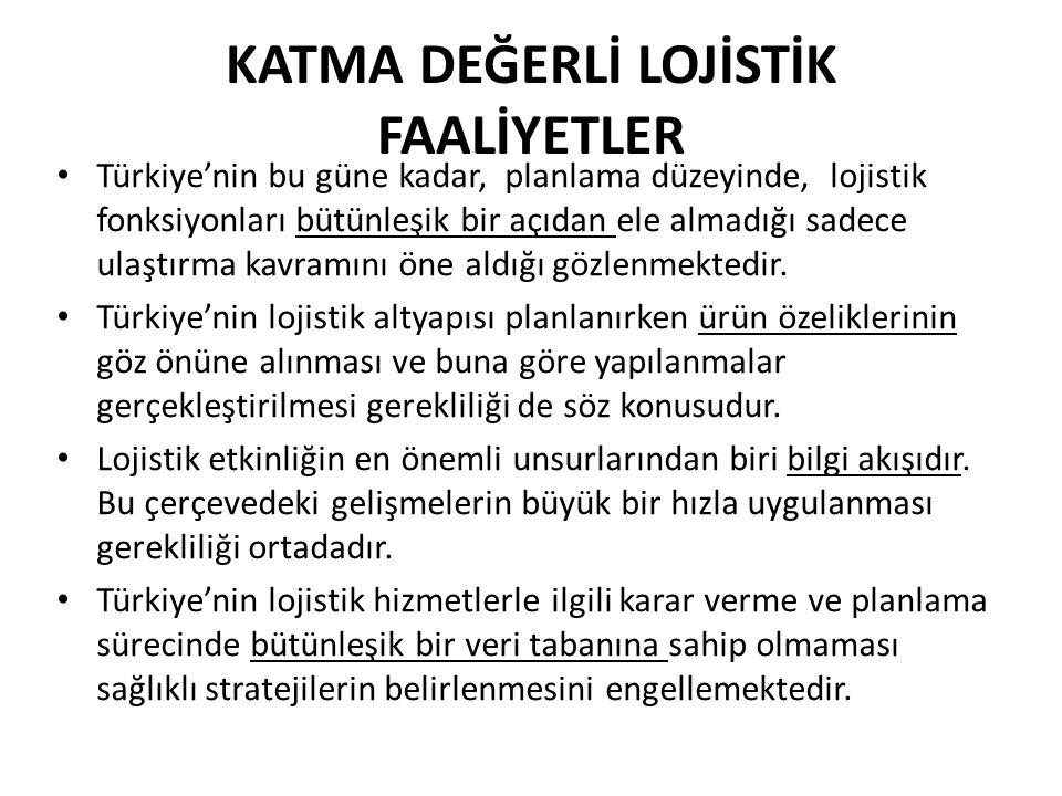 KATMA DEĞERLİ LOJİSTİK FAALİYETLER • Türkiye'nin bu güne kadar, planlama düzeyinde, lojistik fonksiyonları bütünleşik bir açıdan ele almadığı sadece u