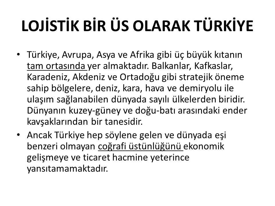 LOJİSTİK BİR ÜS OLARAK TÜRKİYE • Türkiye, Avrupa, Asya ve Afrika gibi üç büyük kıtanın tam ortasında yer almaktadır. Balkanlar, Kafkaslar, Karadeniz,