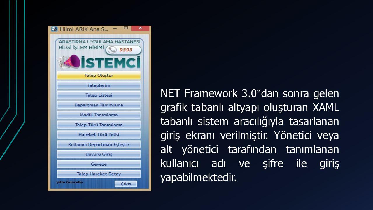 """NET Framework 3.0 """" dan sonra gelen grafik tabanlı altyapı oluşturan XAML tabanlı sistem aracılığıyla tasarlanan giriş ekranı verilmiştir."""