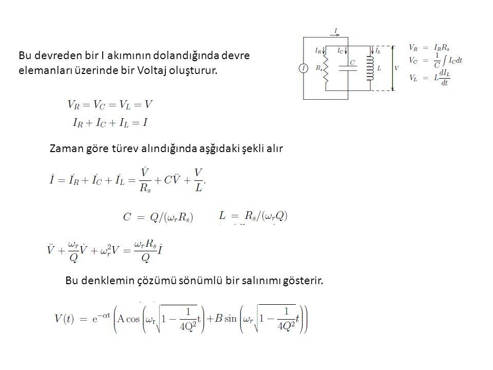 Bu devreden bir I akımının dolandığında devre elemanları üzerinde bir Voltaj oluşturur. Zaman göre türev alındığında aşğıdaki şekli alır Bu denklemin