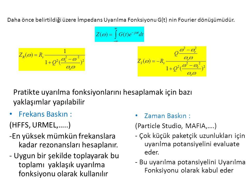 Daha önce belirtildiği üzere İmpedans Uyarılma Fonksiyonu G(t) nin Fourier dönüşümüdür. Pratikte uyarılma fonksiyonlarını hesaplamak için bazı yaklaşı