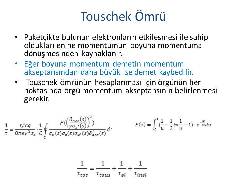 Touschek Ömrü • Paketçikte bulunan elektronların etkileşmesi ile sahip oldukları enine momentumun boyuna momentuma dönüşmesinden kaynaklanır. • Eğer b