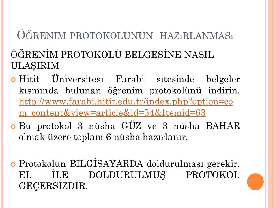 Ö ĞRENIM PROTOKOLÜNÜN HAZıRLANMASı ÖĞRENİM PROTOKOLÜ BELGESİNE NASIL ULAŞIRIM Hitit Üniversitesi Farabi sitesinde belgeler kısmında bulunan öğrenim pr