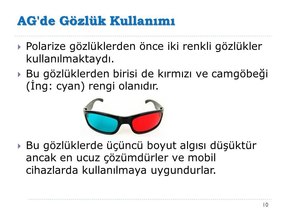 AG'de Gözlük Kullanımı 10  Polarize gözlüklerden önce iki renkli gözlükler kullanılmaktaydı.  Bu gözlüklerden birisi de kırmızı ve camgöbeği (İng: c