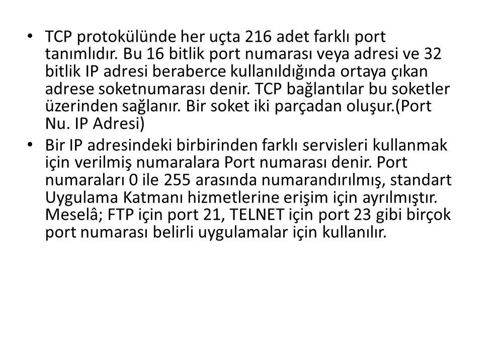• TCP protokülünde her uçta 216 adet farklı port tanımlıdır. Bu 16 bitlik port numarası veya adresi ve 32 bitlik IP adresi beraberce kullanıldığında o