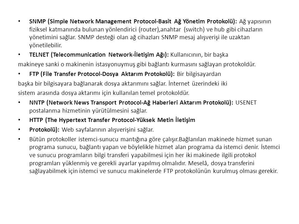 • SNMP (Simple Network Management Protocol-Basit Ağ Yönetim Protokolü): Ağ yapısının fiziksel katmanında bulunan yönlendirici (router),anahtar (switch
