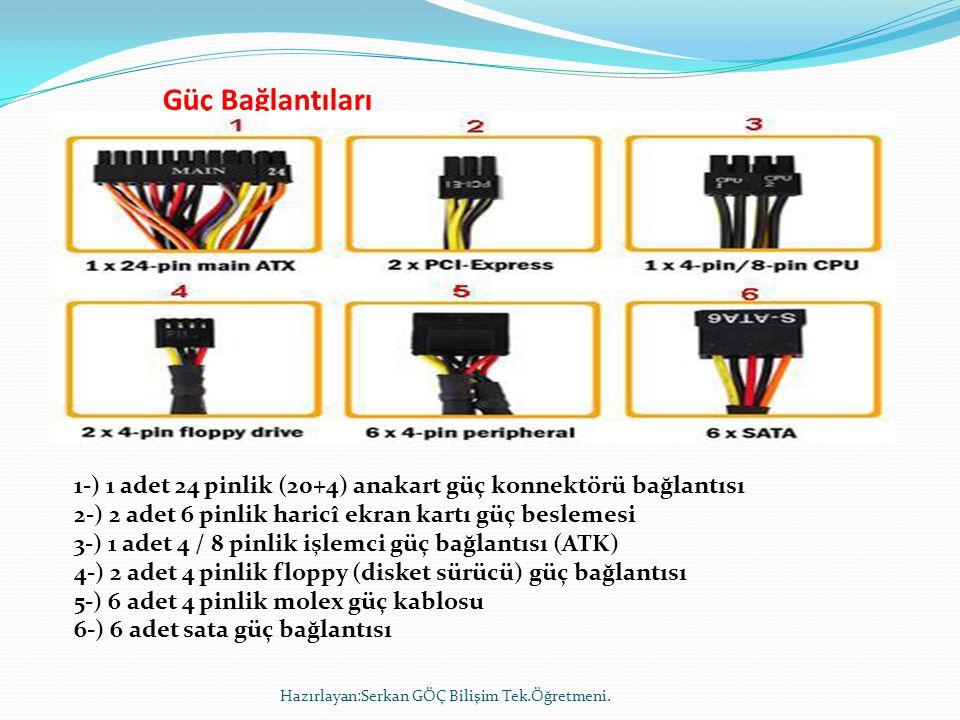 Güç Bağlantıları Hazırlayan:Serkan GÖÇ Bilişim Tek.Öğretmeni. 1-) 1 adet 24 pinlik (20+4) anakart güç konnektörü bağlantısı 2-) 2 adet 6 pinlik haricî