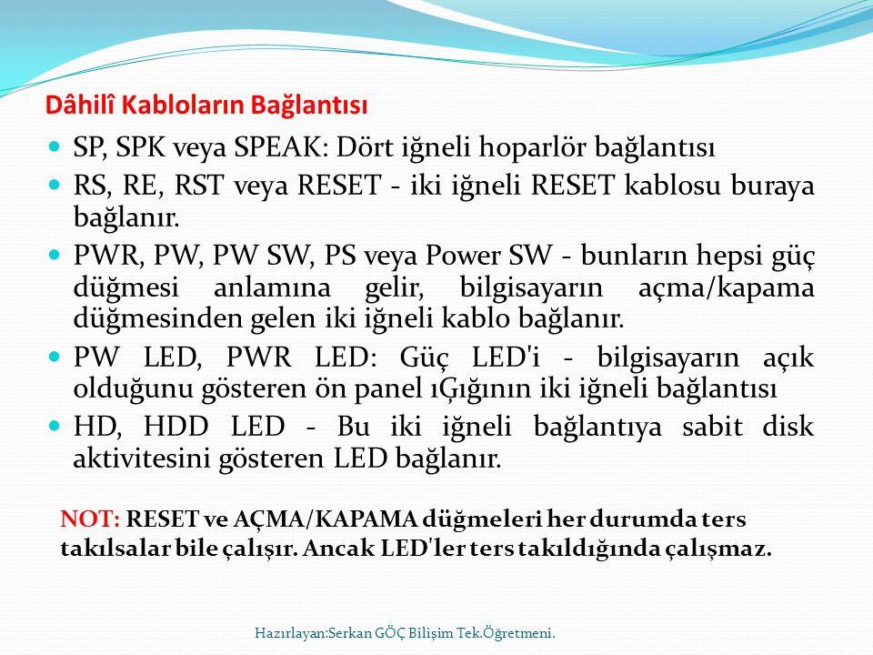  SP, SPK veya SPEAK: Dört iğneli hoparlör bağlantısı  RS, RE, RST veya RESET - iki iğneli RESET kablosu buraya bağlanır.  PWR, PW, PW SW, PS veya P