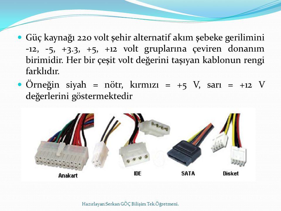  Güç kaynağı 220 volt şehir alternatif akım şebeke gerilimini -12, -5, +3.3, +5, +12 volt gruplarına çeviren donanım birimidir. Her bir çeşit volt de