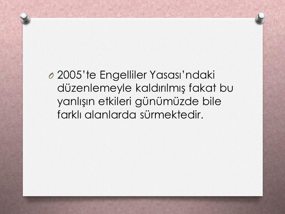 O 2005'te Engelliler Yasası'ndaki düzenlemeyle kaldırılmış fakat bu yanlışın etkileri günümüzde bile farklı alanlarda sürmektedir.