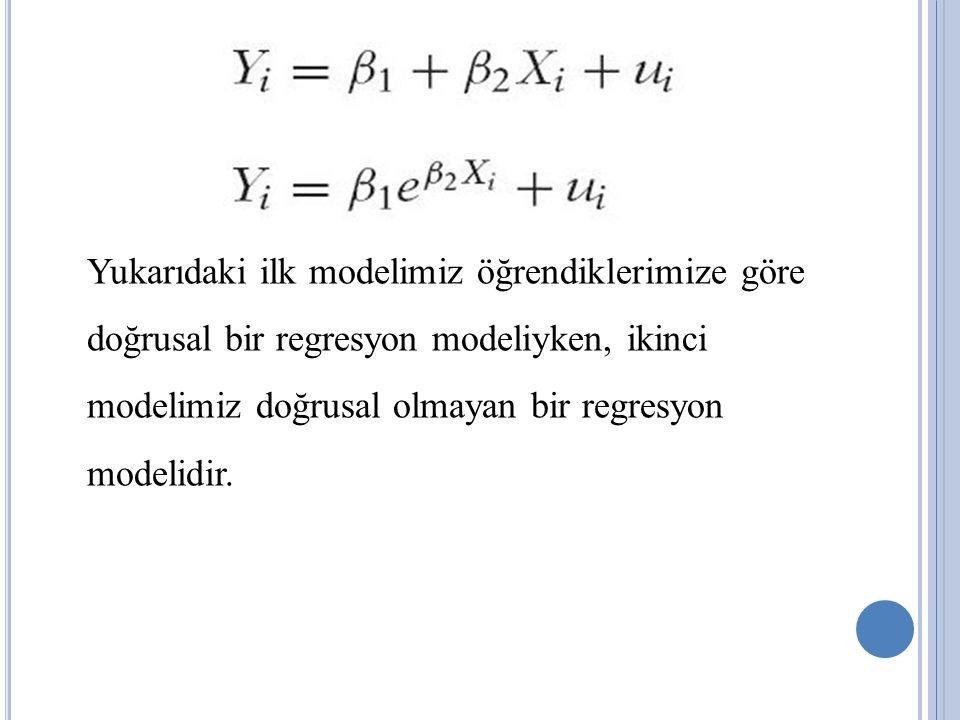 Yukarıdaki ilk modelimiz öğrendiklerimize göre doğrusal bir regresyon modeliyken, ikinci modelimiz doğrusal olmayan bir regresyon modelidir.