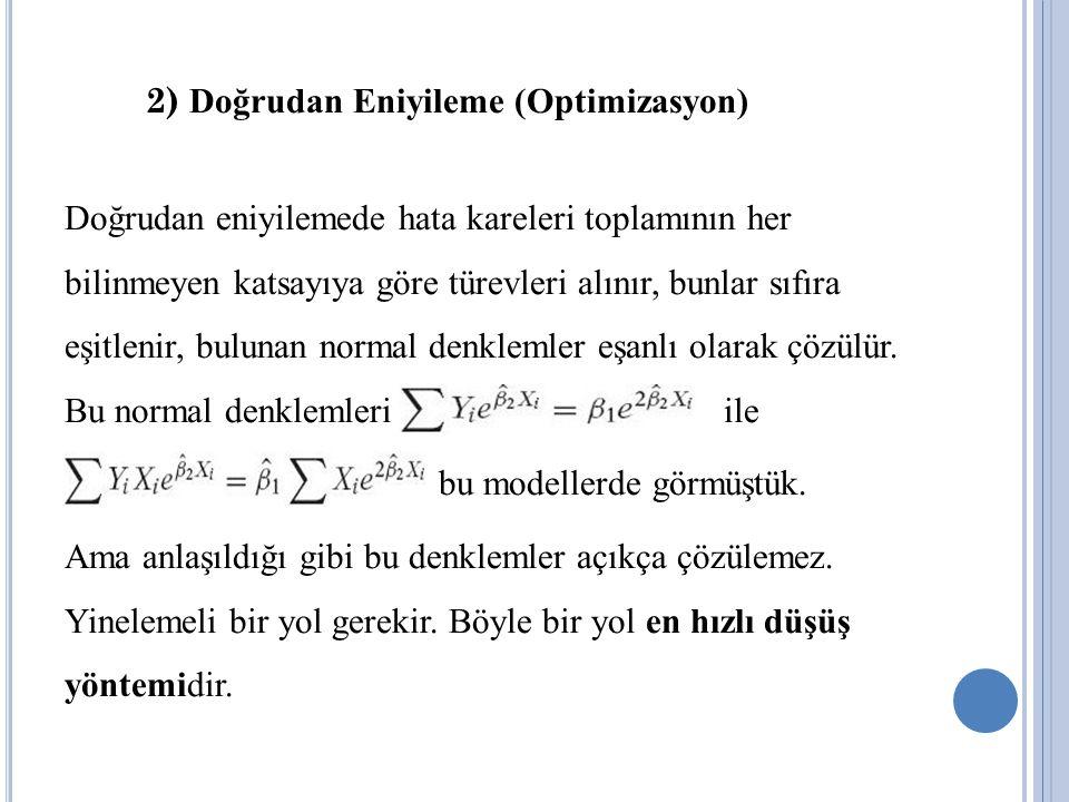 2) Doğrudan Eniyileme (Optimizasyon) Doğrudan eniyilemede hata kareleri toplamının her bilinmeyen katsayıya göre türevleri alınır, bunlar sıfıra eşitlenir, bulunan normal denklemler eşanlı olarak çözülür.