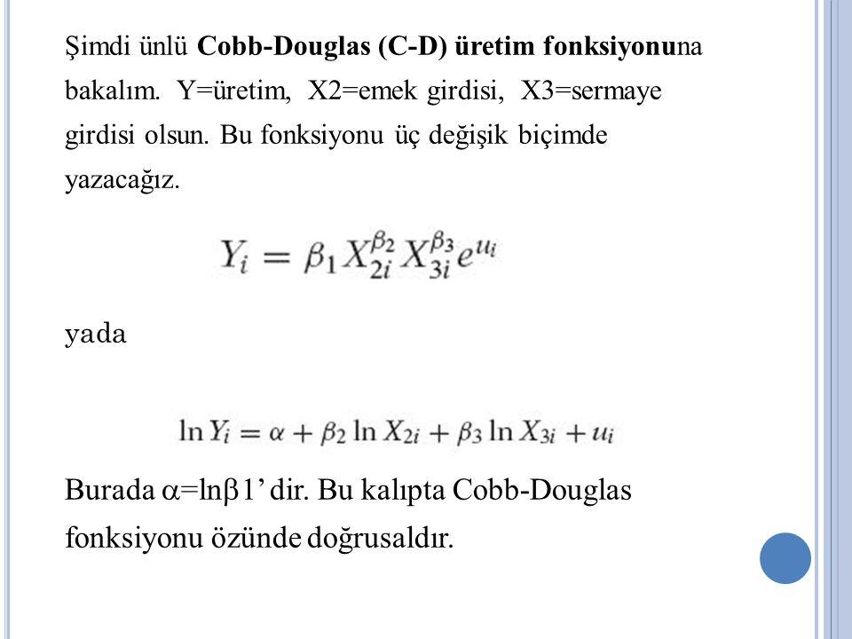 Şimdi ünlü Cobb-Douglas (C-D) üretim fonksiyonuna bakalım. Y=üretim, X2=emek girdisi, X3=sermaye girdisi olsun. Bu fonksiyonu üç değişik biçimde yazac