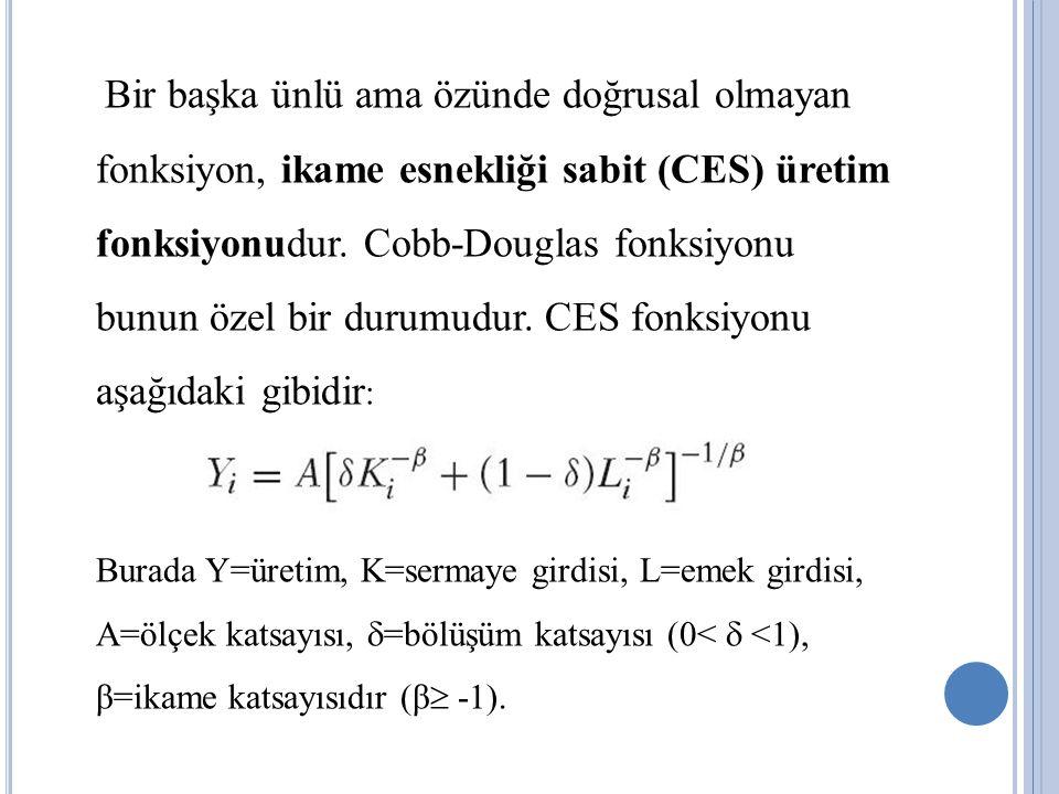 Bir başka ünlü ama özünde doğrusal olmayan fonksiyon, ikame esnekliği sabit (CES) üretim fonksiyonudur. Cobb-Douglas fonksiyonu bunun özel bir durumud