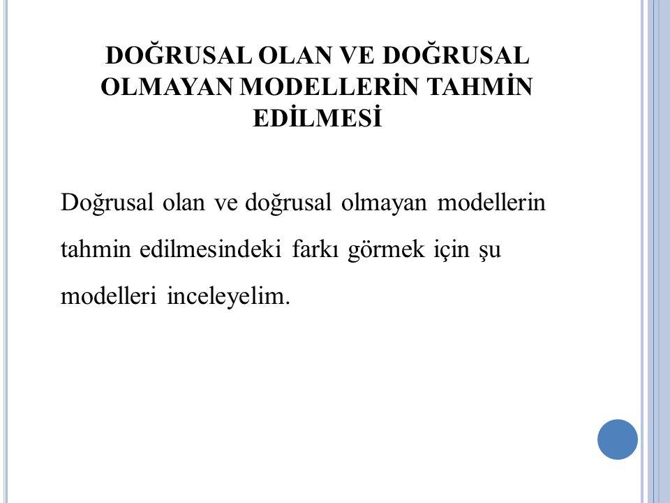 DOĞRUSAL OLAN VE DOĞRUSAL OLMAYAN MODELLERİN TAHMİN EDİLMESİ Doğrusal olan ve doğrusal olmayan modellerin tahmin edilmesindeki farkı görmek için şu mo