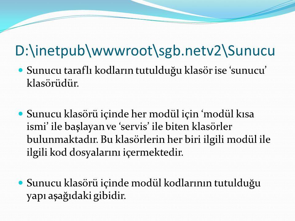 D:\inetpub\wwwroot\sgb.netv2\Sunucu  Sunucu taraflı kodların tutulduğu klasör ise 'sunucu' klasörüdür.  Sunucu klasörü içinde her modül için 'modül