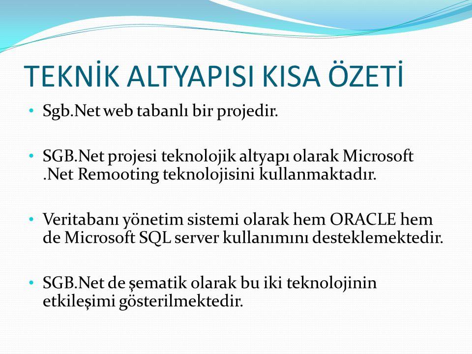 TEKNİK ALTYAPISI KISA ÖZETİ • Sgb.Net web tabanlı bir projedir. • SGB.Net projesi teknolojik altyapı olarak Microsoft.Net Remooting teknolojisini kull