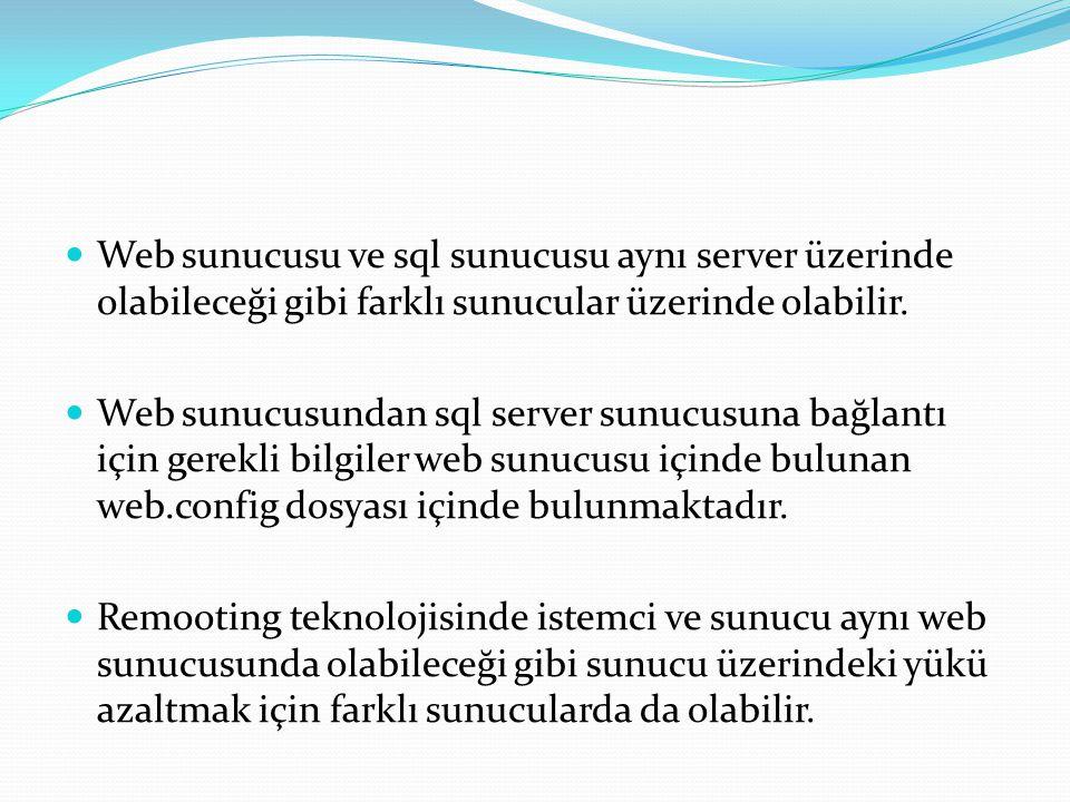  Web sunucusu ve sql sunucusu aynı server üzerinde olabileceği gibi farklı sunucular üzerinde olabilir.  Web sunucusundan sql server sunucusuna bağl