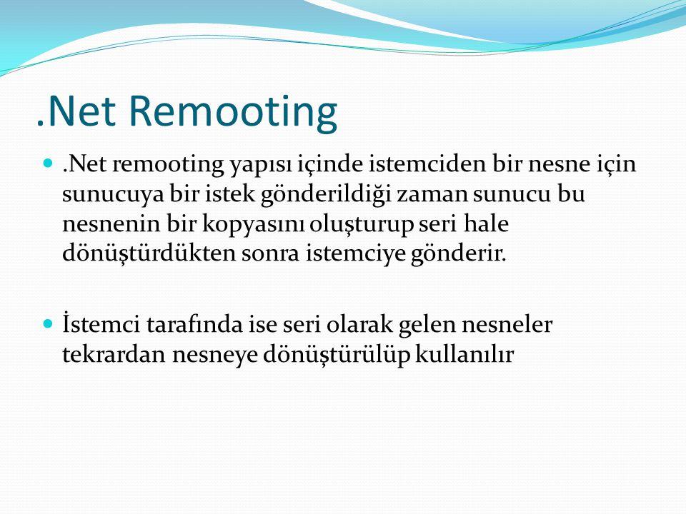 .Net Remooting .Net remooting yapısı içinde istemciden bir nesne için sunucuya bir istek gönderildiği zaman sunucu bu nesnenin bir kopyasını oluşturu