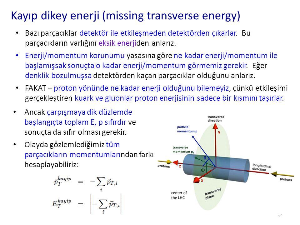 Kayıp dikey enerji (missing transverse energy) 28 FAKAT – kayıp enerji görmemiz mutlaka kaçak parçacık var demek değildir.