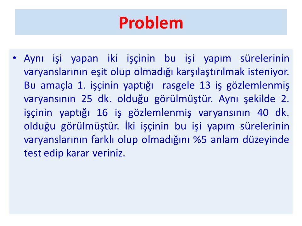 Problem - Çözüm • H 0 :  1 2 =  2 2 • H 1 :  1 2 ≠  2 2 • Anlam düzeyi:  = 0,05 olup hipotez çift taraflıdır.