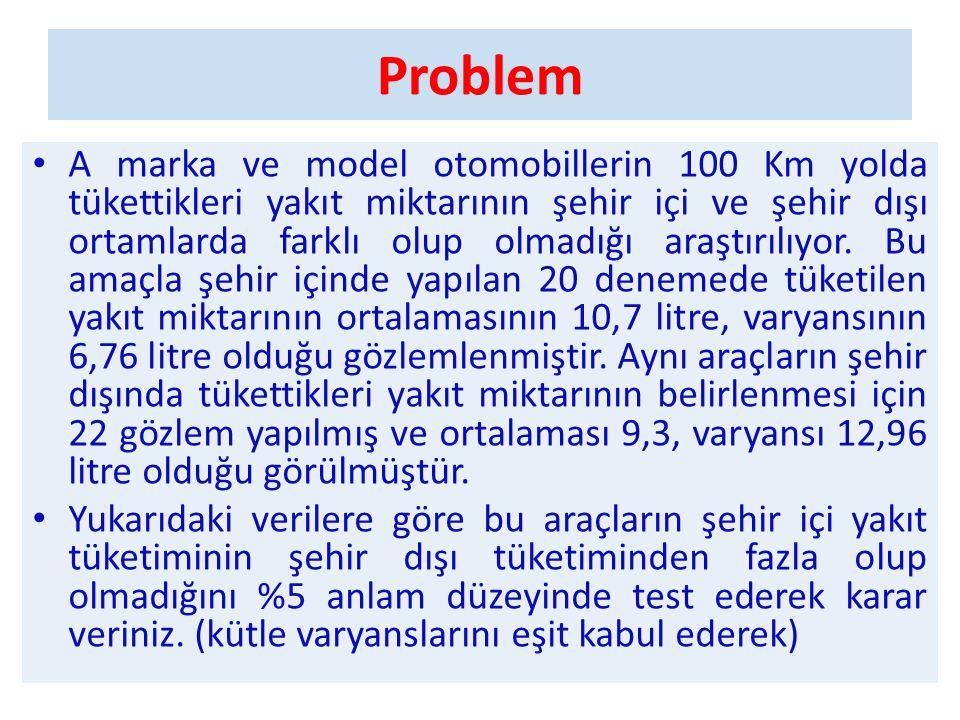 Problem • A marka ve model otomobillerin 100 Km yolda tükettikleri yakıt miktarının şehir içi ve şehir dışı ortamlarda farklı olup olmadığı araştırılı