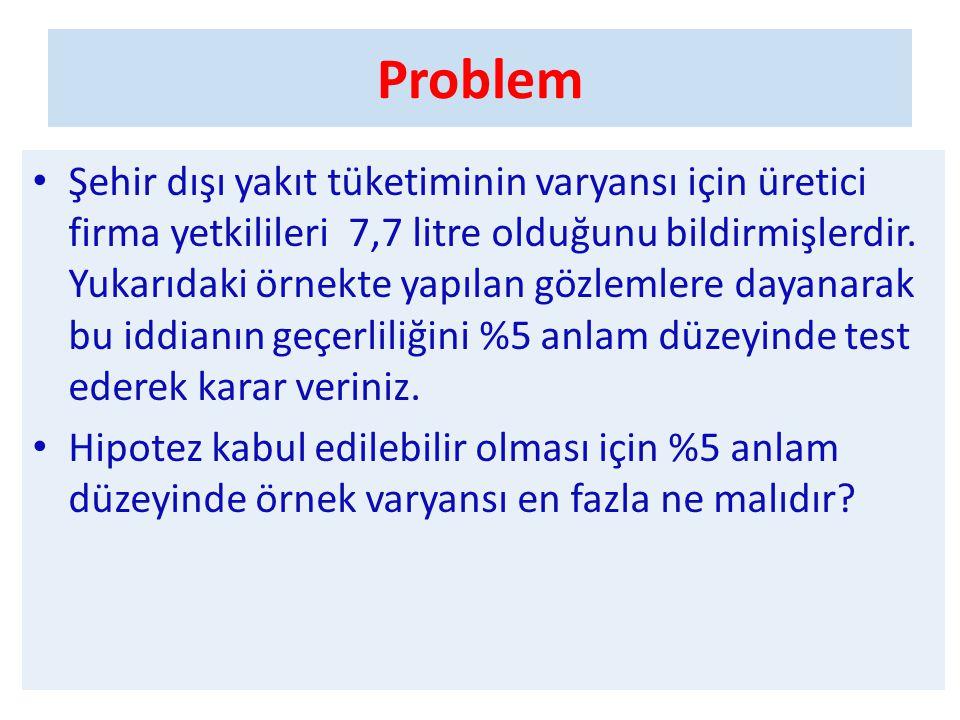 Problem • Şehir dışı yakıt tüketiminin varyansı için üretici firma yetkilileri 7,7 litre olduğunu bildirmişlerdir. Yukarıdaki örnekte yapılan gözlemle